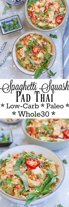 Spaghetti Squash Pad Thai - a low-carb, paleo version of the classic dish. This easy meal is Whole30-approved and healthy!