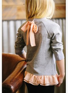 Vierra Rose Emma Ruffle Bottom Sweatshirt in Heather Grey/Coral