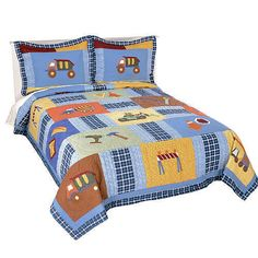 Construction Truck Bedding for Boys Full / Queen Size 3pc Quilt Set - Kids Construction Bedspread