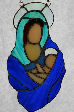 Madonna and Child - Stained Glass Sun Catcher Lt. Blue | Designs-in-Stained-Glass - Glass on ArtFire