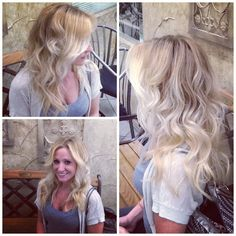 Beige blonde ombré and beach waves