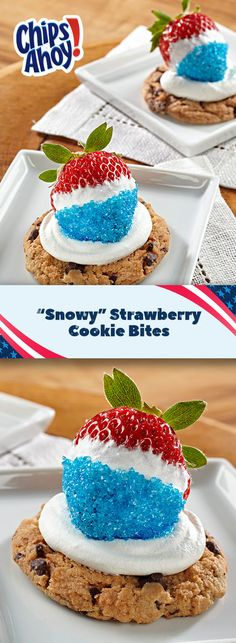 """Celebrate Team USA with these easy-to-make red, white and blue treats! This recipe for """"Snowy"""" Strawberry Cookie Bites uses a classic CHIPS AHOY! Cookie topped with sweet whipped cream and delightfully dipped fresh strawberry. Your guests will be cheering for more. Preps and serves in 10 mins!"""