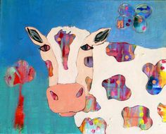 Cow Original Acrylic Painting on Canvas cm by coocoovaya Cow Paintings On Canvas, Acrylic Painting Canvas, Original Paintings, Quirky Art, Whimsical Art, Cow Illustration, Cow Art, Nursery Art, Framed Art Prints