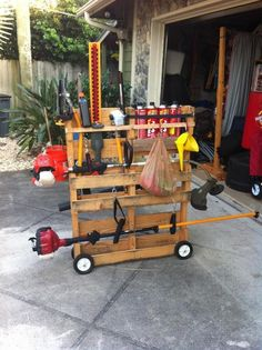 Put wheels on a pallet for mobile storage. Lol Michael needs this :)