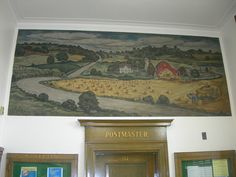 "Waupaca Wisconsin Post Office Mural    New Deal mural entitled ""Wisconsin Countryside"" painted by Raymond Redell in 1940. Waupaca Wisconsin Post Office Mural by jimmywayne, via Flickr"