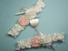 White Wedding Garter Set in Satin with Pink Roses and Personalized Engraving