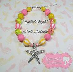 Beachball Starfish Chunky Beaded Necklace by KenziesBoutique1, $16.99
