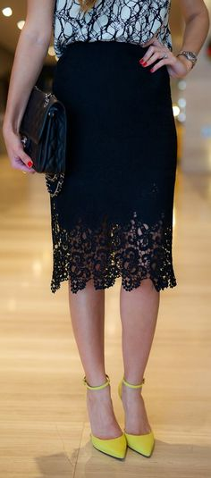 Black Lace Skirt Chic Fall Inspo by The Girl From Panama