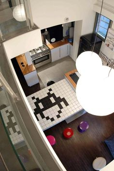 Space Invaders Tiled Kitchen Table - Loft in Le Havre, France