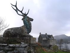 Duntrune Castle and stag. North Loch Crinan, Argyll, Scotland.