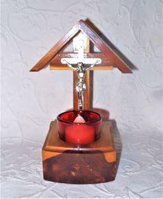 Vintage Catholic Wood Crucifix Home Chapel Altar Shrine Ruby Votive Holder EUC Home Altar, Primitive Homes, Votive Holder, Crucifix, Mid-century Modern, Catholic, Objects, Cool Stuff, Antiques
