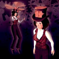 The Topter Hat is a top hat with fancy metal doors on the front and top. When you fly, the doors open, propellers pop out of the top, and a set of handlebars extend from the front for steering. From Curio Obscura in Second Life.