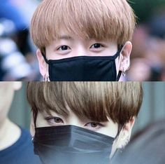Jungkook with & without eye makeup / contact lenses