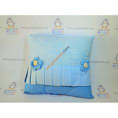 Papatya Takı Yastığı Erkek, Mavi, pamuklu, yumuşacık kumaştan kalpli ve puantiyeli takı yastığı. Pengu Bebek