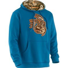 Men's Big Game Camo Blindside Performance Hoodie - This one sets a new standard for hoodies!  Pure smooth finish performance poly provides just the right amount of warmth without the bulk and weight of cotton.  Features Big Game® Camo lined hood and exclusive high definition Legendary® Signature Buck tackle twill appliqué.