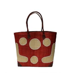 Mamy – Raffia Circles Basket, Tote, bag  come with other  colors.  This beautiful basket is great for outings use.  This tote is made of Raffia and Straw along with  Leather handles and a draw string.  Our tote come with in 3 different  sizes.   It's made by the artisan women from Madagascar, Africa.  Dimensions: 14W x 10.5H x 6.5D 16W x 13H x 8D 18W x 15H x 9.5D
