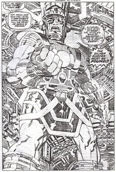 Uninked Jack Kirby pencils to a page from FANTASTIC FOUR #75