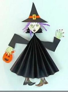 halloween craft witch -- visual only Theme Halloween, Halloween Arts And Crafts, Halloween Activities, Diy Halloween Decorations, Halloween Cards, Holidays Halloween, Halloween Diy, Happy Halloween, Kids Crafts
