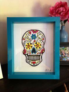 day of the dead sugar skull cross stitch