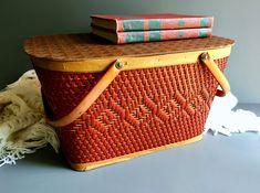 Linen Storage, Storage Baskets, Baskets On Wall, Vintage Bohemian, Bohemian Decor, Large Chair, Wicker Picnic Basket, Wood Detail, Burnt Orange