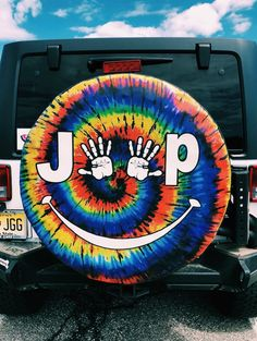 Tie-Dye Jeep Wave tire cover, love it! Jeep Cars, Jeep Truck, Jeep Jeep, My Dream Car, Dream Cars, Van Life, Jeep Tire Cover, Tire Covers For Jeeps, Jeep Wrangler Tire Covers