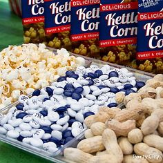 Classic baseball stadium favorites like peanuts, popcorn & caramel corn are the easiest baseball party treats. Serve 'em up!