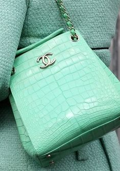 LOVE the mint colored Chanel bag! Would be the perfect pop of color in any outfit! LOVE the mint colored Chanel bag! Would be the perfect pop of color in any outfit! Chanel Purse, Chanel Handbags, Purses And Handbags, Cheap Handbags, Designer Handbags, Popular Handbags, Luxury Handbags, Handbags Online, Prada Purses