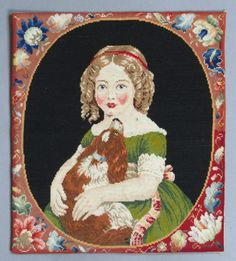 ANTIQUE VICTORIAN BERLIN WOOLWORK EMBROIDERY of a GIRL & PET SPANIEL DOG c 1850