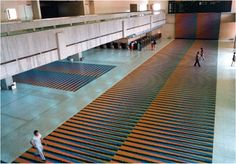 Architectural Integrations: 1970 - 1979: 1974  Ambientación de Color Aditivo  Simón Bolívar International Airport, Maiquetía, Venezuela Arch. Felipe Montemayor, Luis Sully  [See location on map]  Wall and floors of Couleur Additive in the airport's main hall   Dim. 270 x 9 m (295 1/4 x 9 27/32 yd)   Two walkways. Dim. 9 x 30 m (9 27/32 x 32 13/16 yd) each one