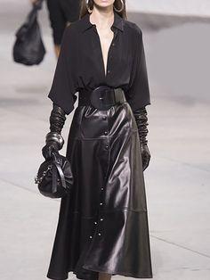 a1692f3609fd Black Sleeve A-line Shirt Collar Elegant top with skirt