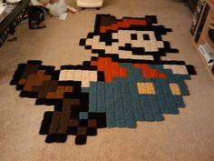 isoäidin neliöillä tehty Mario-matto. :)