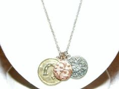 "silver tone necklace with three pendants ""aeo"" KA5"