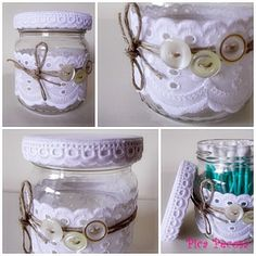 Glass jar for cotton swabs / Bote de cristal con puntilla para los bastoncillos