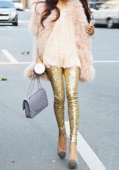 Gold Sequined Leggings- Body Fit Gold Sequined Leggings
