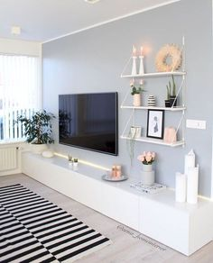 80 Amazing Living Room TV Wall Decor Ideas And Remodel - Wohnzimmer Living Room Tv, Living Room Interior, Home And Living, Tv On Wall Ideas Living Room, Living Room Ideas For Small Houses, Living Room Set Ups, Tv On The Wall Ideas, Shelving In Living Room, Living Room Decor Around Tv