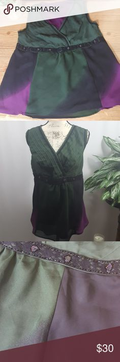 """Lane Bryant Sleeveless Top 14 Excellent used condition. Beautiful embellished sleeveless top, fully lined. Size 14. 40"""" bust, 26"""" length.  All measurements are approximate. Lane Bryant Tops Blouses"""