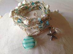 Ivory boho beachy necklace/bracelet wrap with by sparkleshells, $14.95