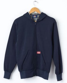 FOR SALE: Vintage DICKIES Zip Hoodie in Navy Size S Small Hooded Sweatshirt Sweat Fleece