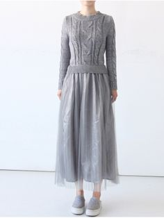 Gray Cable Top with Chiffon Pleated Bottom Panel Dress   Choies