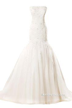 Women Tulle Floor Length Long Lace Up Mermaid Wedding Dress http://www.ikmdresses.com/Women-Tulle-Floor-Length-Long-Lace-Up-Mermaid-Wedding-Dress-p88062