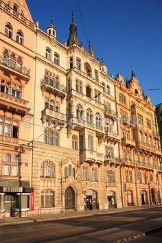 Houses on the Masaryk Embankment, Prague, Czech Republic