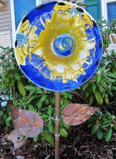 garden glass flower glass plate flower-yard art-glass