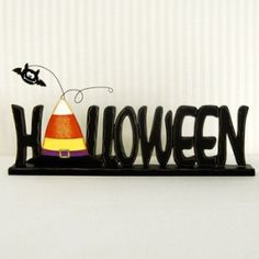 """$23.90 19.5"""" metal cutout -HALLOWEEN- w/candy corn witch hat"""