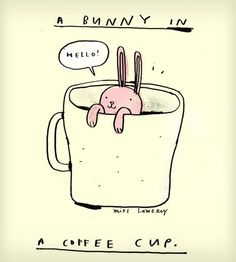 Bunny in a Coffee Cup Print |  Mike Lowery |