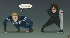 D'awww Bucky is still better at push-ups then Steve. I really really need this to happen.