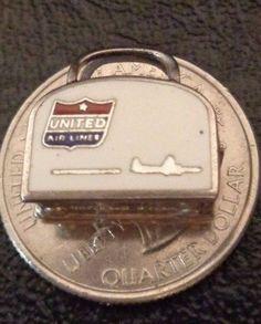 RARE LOOK Wells Vintage Sterling Silver Enamel 3D* American Airlines Bag* Charm!