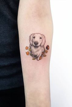 200 Most Creative Small Tattoos That Will Blow Your Mind - Game of Spoons Small Dog Tattoos, Tattoos For Dog Lovers, Placement For Small Tattoos, Shape Tattoo, Color Tattoo, Dog Memorial Tattoos, Detailed Tattoo, Most Popular Tattoos, Time Tattoos
