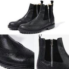 Black faux croc skin boots