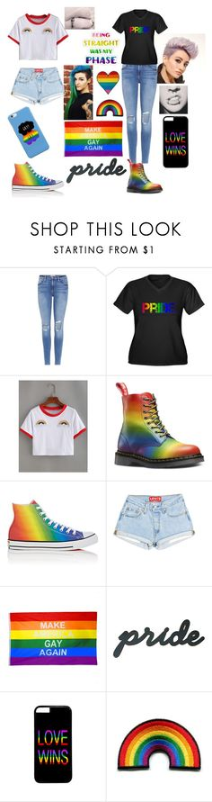 """Cute Lesbian couple at Pride "" by doll-senpai ❤ liked on Polyvore featuring Frame, Converse, pride and lovewins"