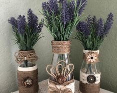 Crafts For Home Decorative Wrapped Bottles, Twine~Jute~Burlap~Wood Buttons~Lavender Florals, Dairy Bottles, Set of Quality Crafted~Farmhouse~Wedding~Home Glass Bottle Crafts, Bottle Art, Vasos Vintage, Starbucks Bottles, Burlap Crafts, Wooden Crafts, Deco Floral, Jute Twine, Mason Jar Crafts